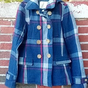 Beautiful American Eagle hooded wool pea coat med